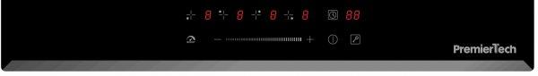 PremierTech® PT-PC4I PremierTech Piano Cottura a Induzione da incasso 4 Zone 60cm 7000watt Slide Touch Control Funzione Boost Led Display Vetro Front Edge