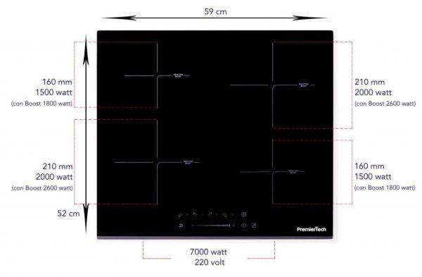 PT-PC4I PremierTech Piano Cottura a Induzione da incasso 4 Zone 60cm 7000watt Slide Touch Control Funzione Boost Led Display Vetro Front Edge