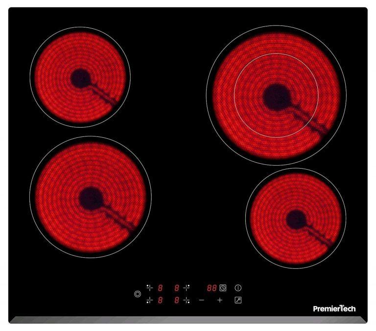 PT-PC4C PremierTech Piano Cottura 4 Fuochi Vetroceramica 60cm Elettrico da incasso Display Led Touch Control Vetro Front smussato