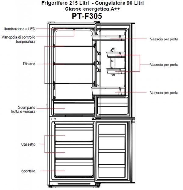 PremierTech PT-F305 Frigorifero Combinato 305 litri A++ 40dB Defrost Bianco