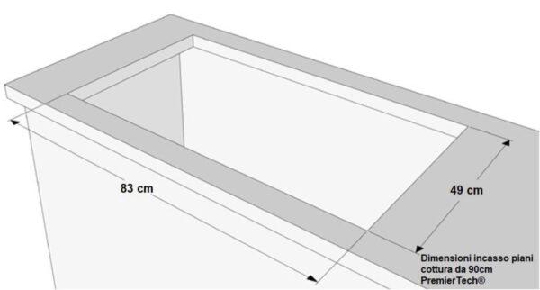 PremierTech PC905 Piano Cottura a Gas da 90cm 5 fuochi Acciaio Inox griglie in ghisa professionali