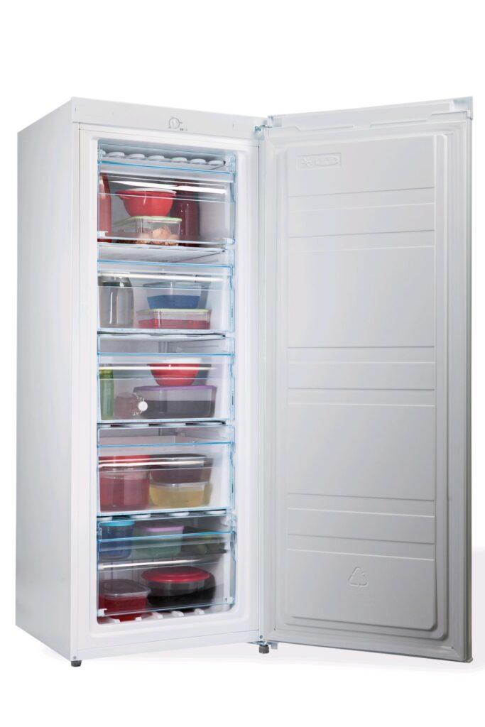 PremierTech PT-FR153 Congelatore Verticale Freezer 160 litri -24°gradi Classe E (ex A++) 4**** Stelle 3 Cassetti e 2 Sportelli