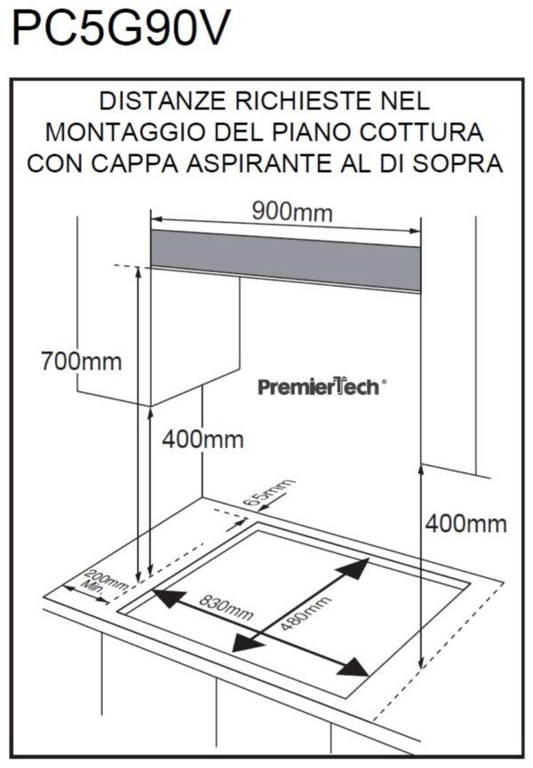PremierTech® PremierTech PC5G90V Piano cottura a gas 5 fuochi 90cm Vetro