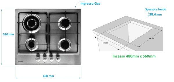 PremierTech PC4G60 Piano cottura a gas 4 fuochi 60cm Inox